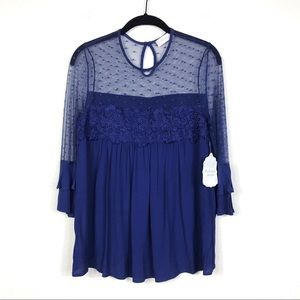 NWT Altar'd State Floral Lace Ruffle Sleeve Top S
